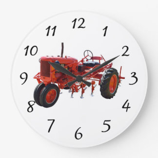 Vintage Red Tractor Engine Large Clock