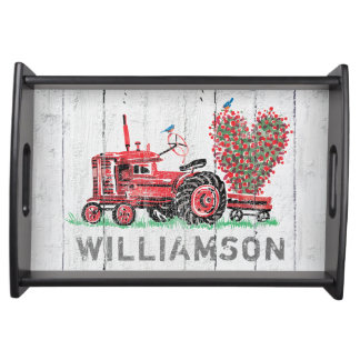 Vintage Red Tractor Farmhouse Rustic Family Name Serving Tray
