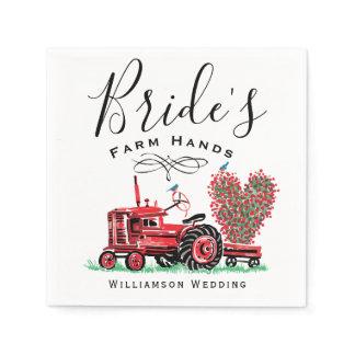 Vintage Red Tractor Floral Heart Bride's Farm Hand Napkins