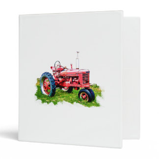 Vintage Red Tractor in the Field 3 Ring Binder