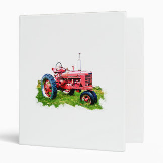 Vintage Red Tractor in the Field 3 Ring Binders