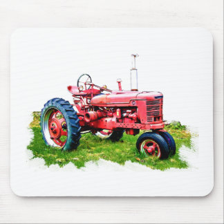 Vintage Red Tractor in the Field Mouse Pad