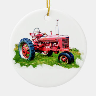 Vintage Red Tractor in the Field Double-Sided Ceramic Round Christmas Ornament
