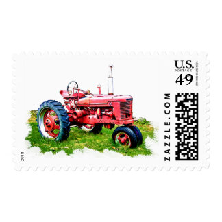 Vintage Red Tractor in the Field Postage