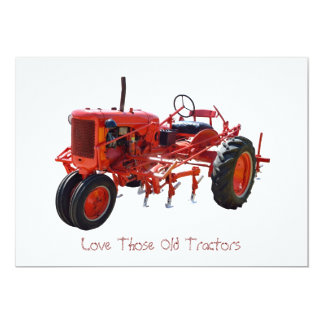 Vintage Red Tractor 5x7 Paper Invitation Card
