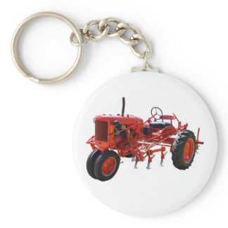 Vintage Red Tractor Keychain