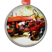 Vintage Red Tractor Metal Ornament
