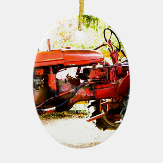 Vintage Red Tractor Double-Sided Oval Ceramic Christmas Ornament