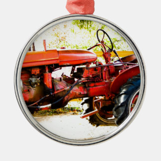Vintage Red Tractor Round Metal Christmas Ornament