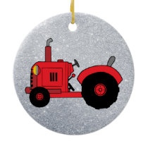 vintage red tractor ornament