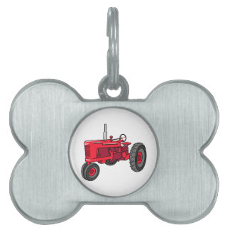 Vintage Red Tractor Pet Name Tag