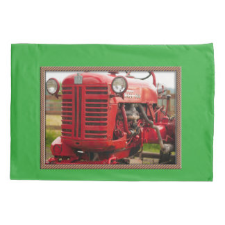Vintage red tractor pillow case