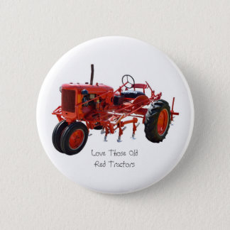 Vintage Red Tractor Pinback Button