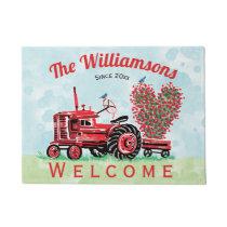 Vintage Red Tractor Pink Floral Heart Welcome Doormat