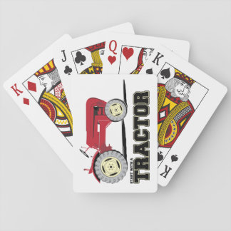 Vintage red tractor playing cards