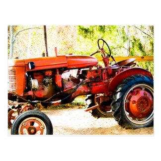 Vintage Red Tractor Postcard