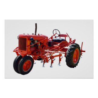 Vintage Red Tractor Poster