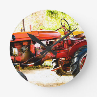 Vintage Red Tractor Round Clock