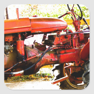 Vintage Red Tractor Square Sticker