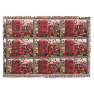 Vintage Red Tractor Throw Blanket