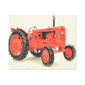 Vintage Red Tractor Watercolor Canvas Print