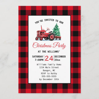 Vintage Red Tractor with Tree Christmas Party Invitation