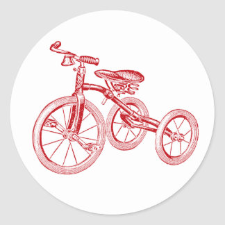 Vintage Red Tricycle Classic Round Sticker