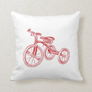Vintage Red Tricycle Throw Pillow