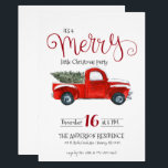 """Vintage Red Truck Christmas Invitation<br><div class=""""desc"""">This vintage red truck theme Christmas invitation is a classic and is perfect for any type of holiday party. Add your custom wording to this design by using the """"Edit this design template"""" boxes on the right hand side of the item, or click the blue """"Customize it"""" button to arrange...</div>"""