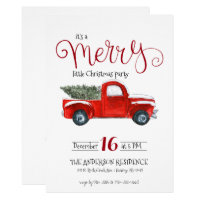 Vintage Red Truck Christmas Invitation
