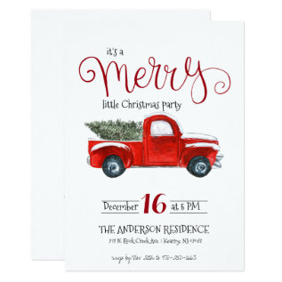 Vintage Red Truck Christmas Invitation at Zazzle