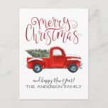 """Vintage Red Truck Christmas Postcard<br><div class=""""desc"""">This vintage red truck theme Christmas postcard is a classic and is perfect for anyone on your mailing list. Add your custom wording to this design by using the """"Edit this design template"""" boxes on the right hand side of the item, or click the blue """"Customize it"""" button to arrange...</div>"""