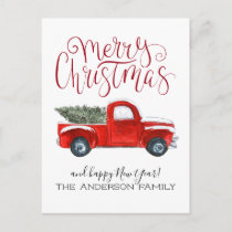 Vintage Red Truck Christmas Postcard
