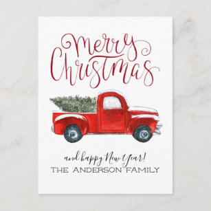 Old Red Truck With Christmas Tree In Back.Vintage Red Truck Christmas Postcard