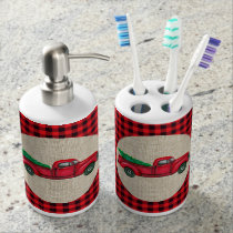 Vintage Red Truck Christmas Toothbrush/Soap Set