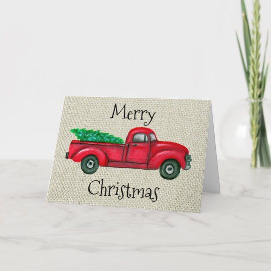 Old Truck With Christmas Tree Painting.Vintage Red Truck Christmas Tree Christmas Card