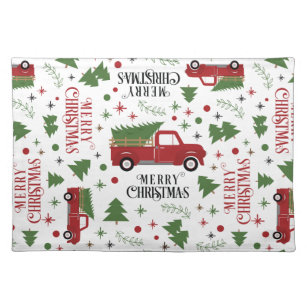 Vintage Red Truck Christmas Placemats.Vintage Red Truck Christmas Tree Cloth Placemat