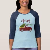 Vintage Red Truck Christmas Tree Cute Farmhouse T-Shirt