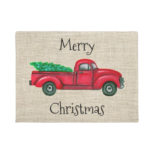Vintage Red Truck Christmas Decor.Vintage Red Truck Christmas Tree Door Mat