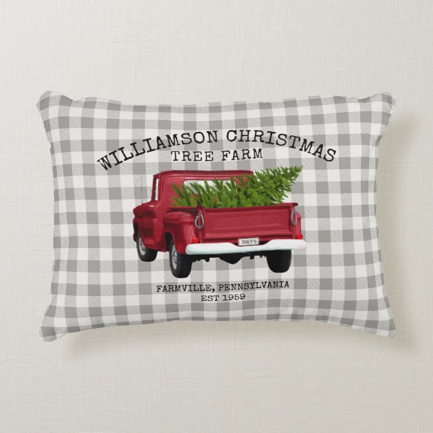 Vintage Red Truck Christmas Tree Farm Your Name Accent Pillow Zazzle Com