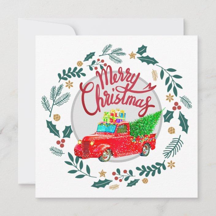 Christmas Tree Merry Christmas Cards Christmas Cards Vintage Red Truck Tree Christmas Notecards Holiday Cards Pack Vintage Red Truck