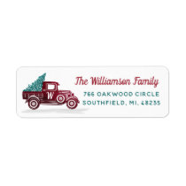 Vintage Red Truck Christmas Tree Monogram Address Label