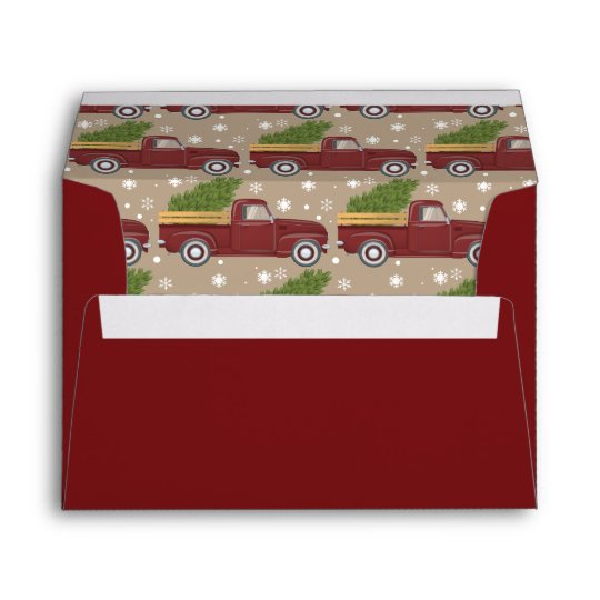 Vintage Red Truck Christmas Decor.Vintage Red Truck Christmas Tree Retro Holiday Envelope