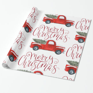 Vintage Red Truck Christmas Wrapping Paper