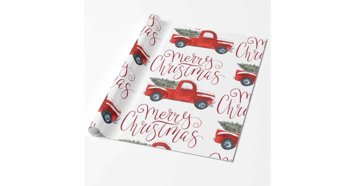 Vintage Red Truck Christmas Wrapping Paper Zazzle Com