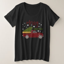 Vintage Red Truck Merry Christmas Tree Farmhouse Plus Size T-Shirt
