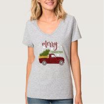 Vintage Red Truck Merry Christmas Tree Retro T-Shirt