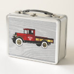 """Vintage Red Truck on Wood Pattern Metal Lunch Box<br><div class=""""desc"""">Vintage Red Truck on Wood Pattern Your Text</div>"""