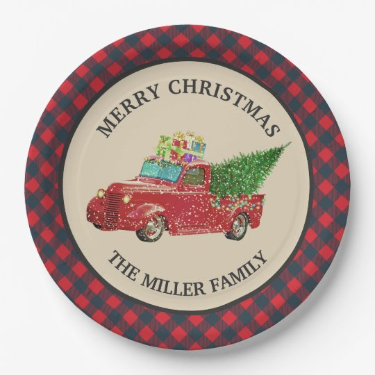 Christmas Paper Plates.Vintage Red Truck Red Buffalo Plaid Christmas Paper Plate