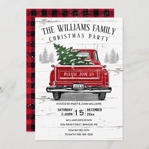 Vintage Red Truck Rustic Family Christmas Party Invitation